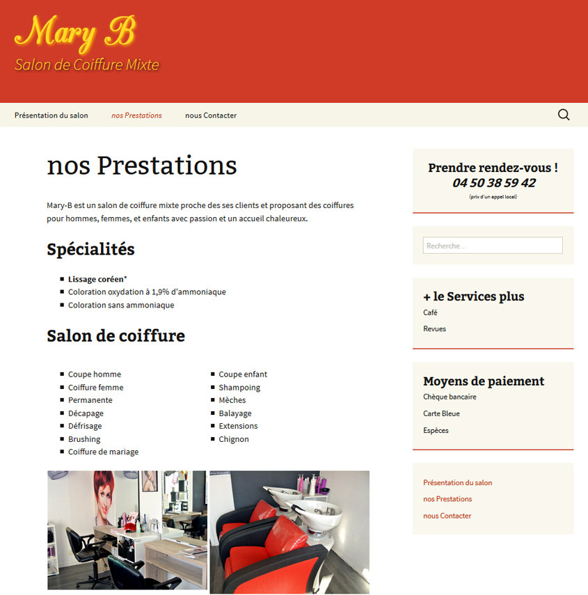 Mary B Coiffure - Site internet pour mobile